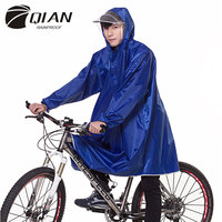 QIAN RAINPROOF Professional Adult Long Thicker Raincoat With Hooded Transparent Brim Cycling Travel Equipment Rainwear