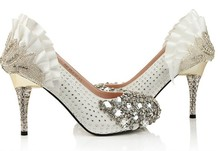 Fashion Gorgeous Red White Rhinestone High Heels Bridal Prom Dress Shoes Popular Wedding Bridal Shoes Bridal  Dress Shoes
