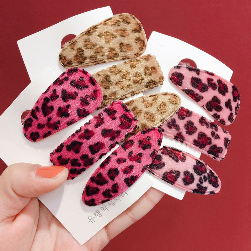 3Pcs Set Korean Style Fluffy Plush Cloth Hair Clips Vintage Leopard Printed Water Drop Rectangle BB Hairpins Girls Snap Barrette in Women 39 s Hair Accessories from Apparel Accessories