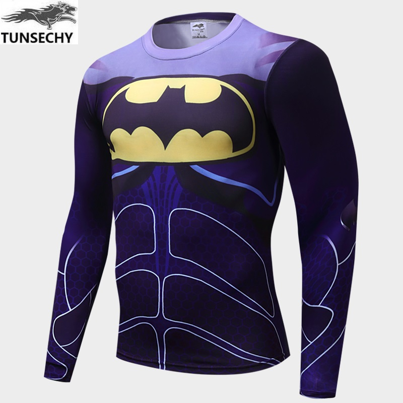 2017 TUNSECHY fashion diffusion hero superman compressed T-shirt tights men long-sleeved T-shirt Wholesale and retail