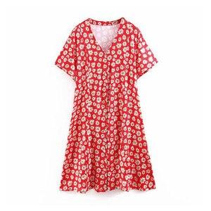 Women style flower print red d