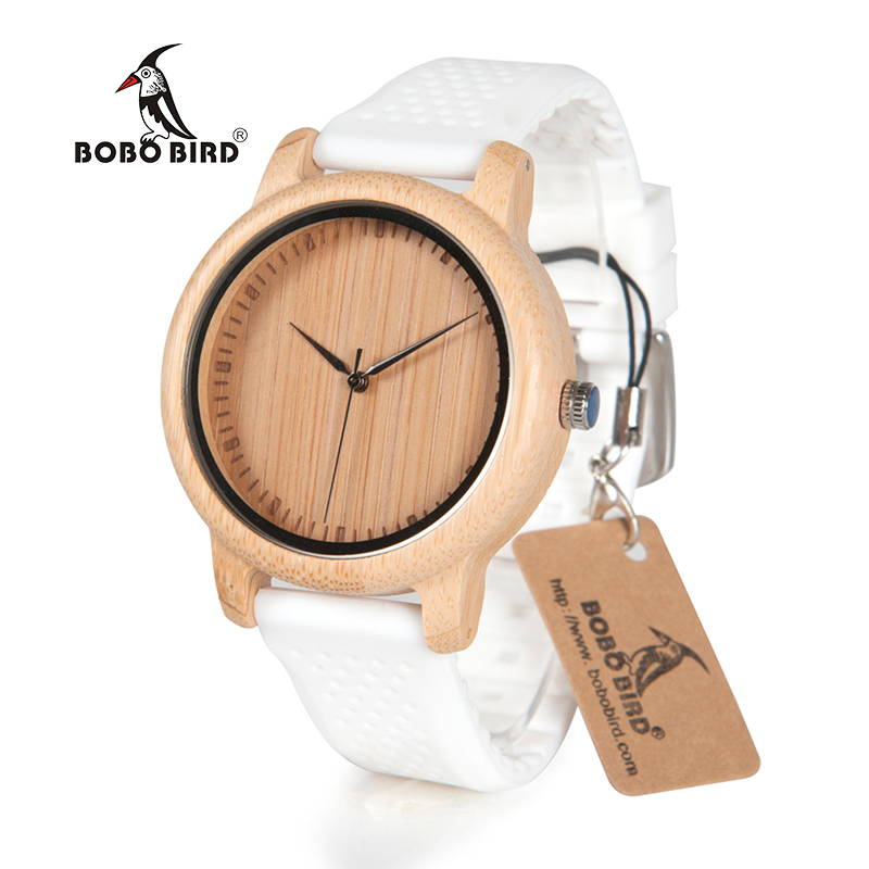 Zegarek drewniany Bobo Bird Color Silikon White B07 3