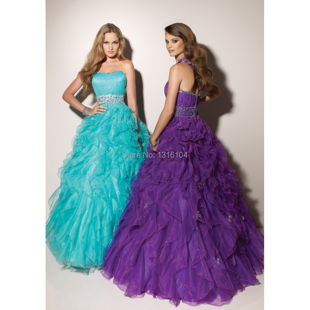 ce3f0f20ebfc 2017 New Coral Purple Puffy Ball Gown Floor Length Sweetheart One Shoulder  Ruffles Organza Senior Prom Dress For Girls