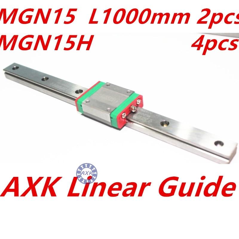 NEW 2pcs 15mm miniature linear guide MGN15 L= 1000mm rail + 4pcs MGN15H CNC block for 3D printer parts XYZ cnc parts 100% new original 25mm precision linear guide rail 1pcs trh25 l 200mm 1pcs trh25b square linear block for cnc