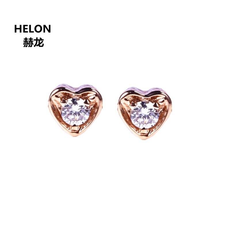 Solid 14k Rose Gold Women Stud Earrings Engagement Wedding Earrings VVS Moissanites starry pattern gold plated alloy rhinestone stud earrings for women pink pair