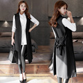 Large Size Long Slim Black Women's Vest Adjustable Waist Spring Female Vests Sleeveless Coat Long Waistcoat Ladies Vest Cardigan