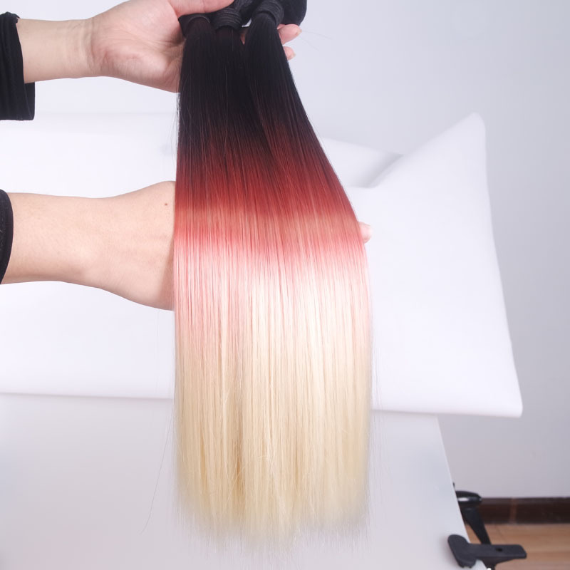 Threetone Blackredblonde Ombre Synthetic Hair Extensions 3bundles