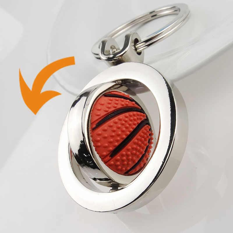 Llavero deportivo en 3D a la moda con llaveros de fútbol de baloncesto giratorio para mujer, hombre, coche, W1840