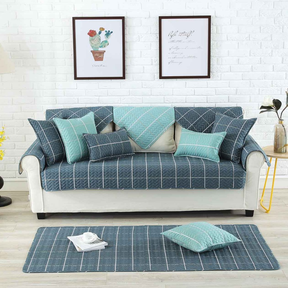Quality Sofa Covers Us 12 13 11 Off High Quality Combination Plaid Sofa Covers For Living Drawing Room Decorative Slip Resistant Sofa Slipcover Seat Couch Cover In