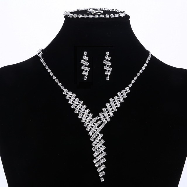 Fashion Silver Color Crystal Bridal Jewelry Sets African Beads Rhinestone Wedding Necklace Earrings Bracelet Women