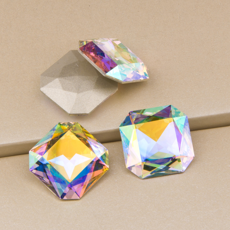 K9 Crystal 4675 23mm AB Square Top Quality Fancy Stones Crystal Sew On Strass Rhinestone Craft Pointback For Clothing in Rhinestones from Home Garden