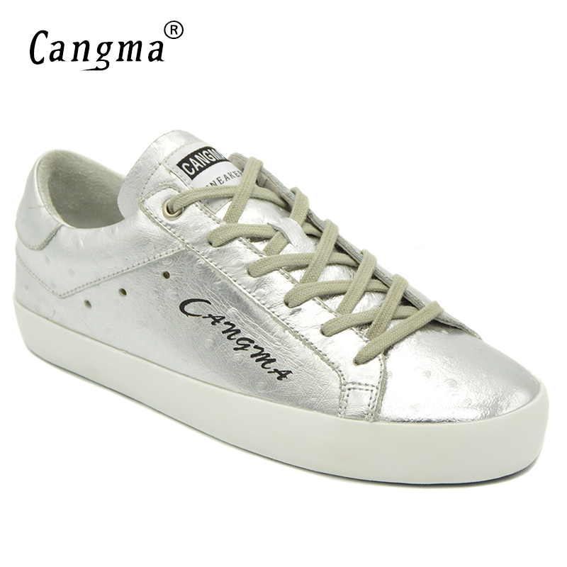 CANGMA Latest Fashion High Quality Female Silver Casual Shoes Patent Genuine Leather Sneakers Women Shoes Low