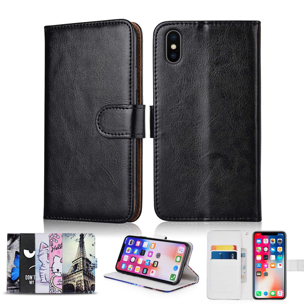 TPU Wallet Case for iPhone 5 5S 6 6S 7 8 Plus Coque for for iPhone X XR XS Max Cover Kickstand Patterned Plain Fitted Case