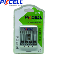 PKCELL 9V Battery Charger for AA/AAA 9V Rechargeable Batteries 1.2v NiCd NiMh Battery charger with 4Slots LCD Display US/EU Plug|Chargers| |  -