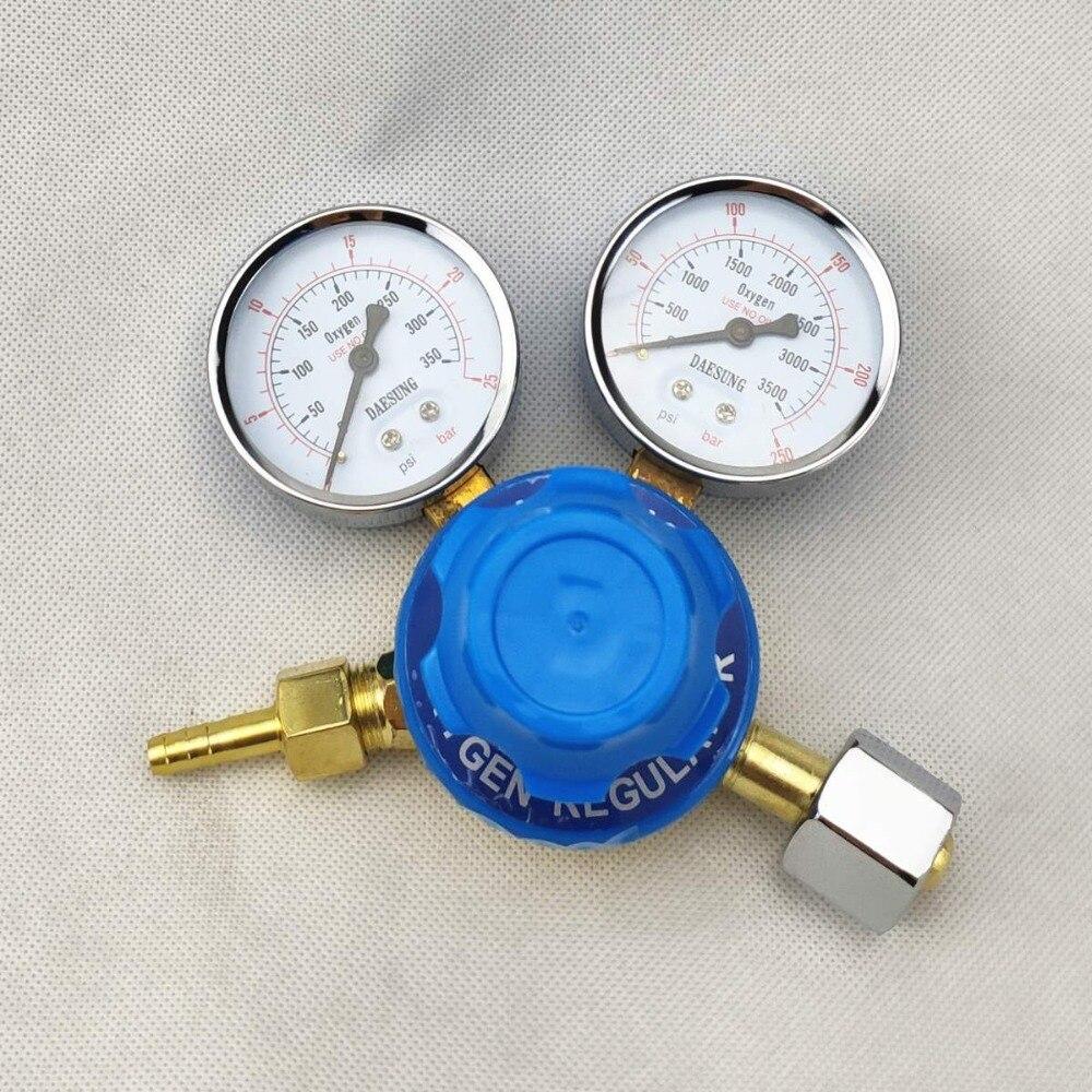 Oxygen Regulator 0-250bar (0-25MPa) to 0-25bar (0-2.5MPa) G5/8 Inlet Dual Gauge Welding Cutting Gas Pressure RegulatorOxygen Regulator 0-250bar (0-25MPa) to 0-25bar (0-2.5MPa) G5/8 Inlet Dual Gauge Welding Cutting Gas Pressure Regulator