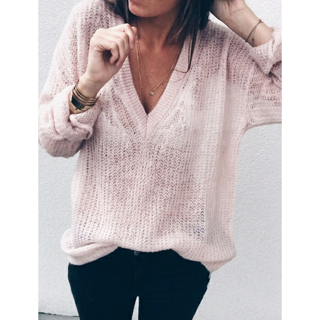 new style autumn women deep v neck knitted sweater tops casual oversize  loose sweater pullovers pull femme s-5xl WS9404E c875c9aae