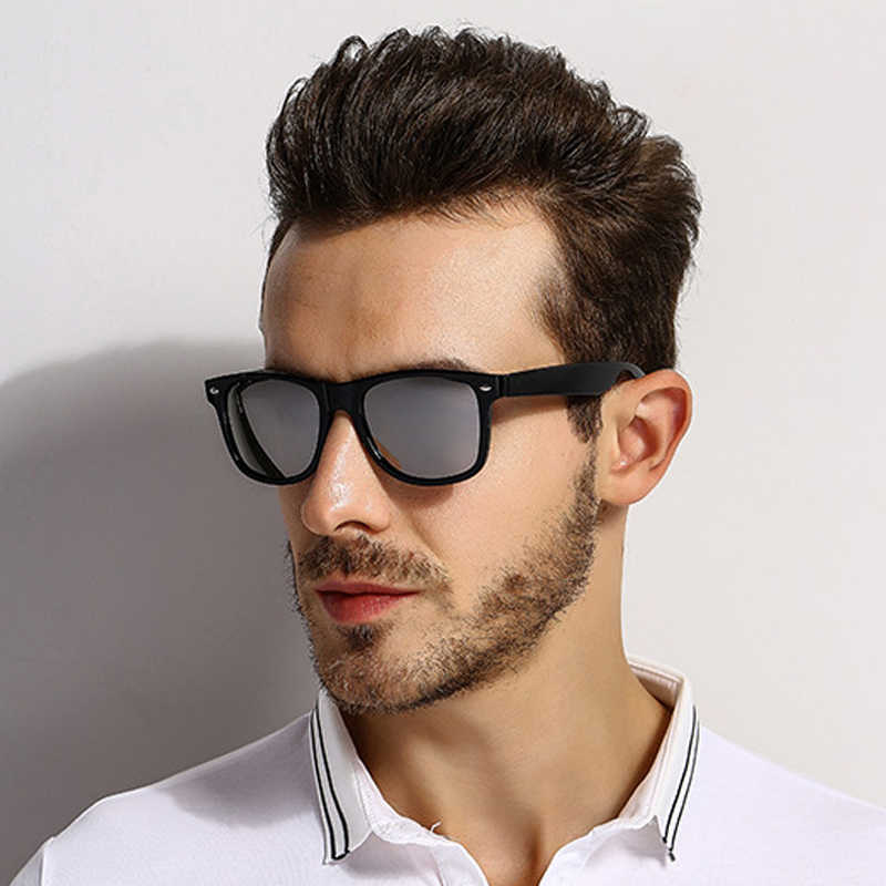 2885cabcb34e [EL Malus]Polarized Square Frame Sunglasses Men Male Night Vision Gray  Silver Blue Lens