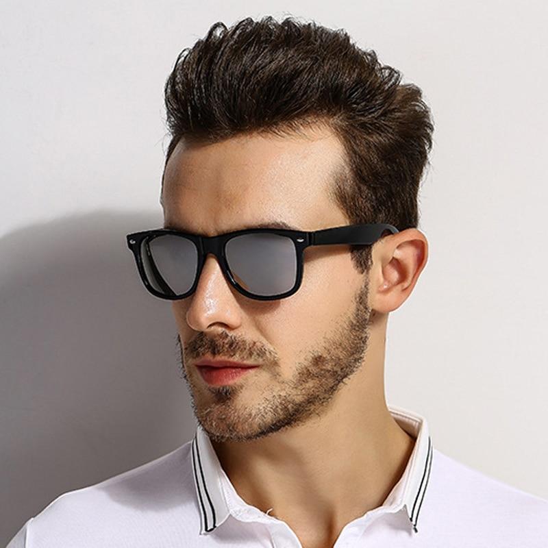 [EL Malus]Polarized Square Frame Sunglasses Men Male Night Gray Silver Blue Lens Mirror Retro Brand Designer Sun Glasses