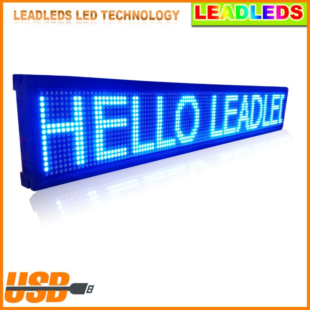USB Programmable Scrolling Electronic Sign 30 X 6.3 Indoor LED Display Board Moving Message LED Display Outdoor Advertising