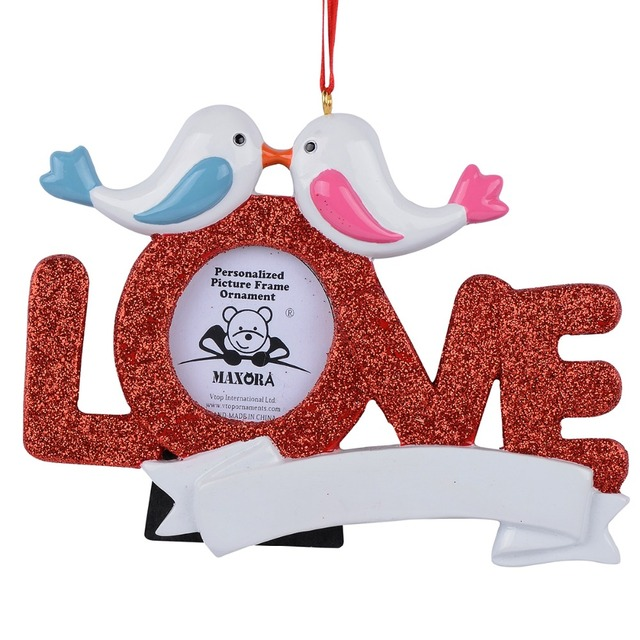 maxora love resin glitter pigeon picture frame write name as personalized christmas ornaments gifts