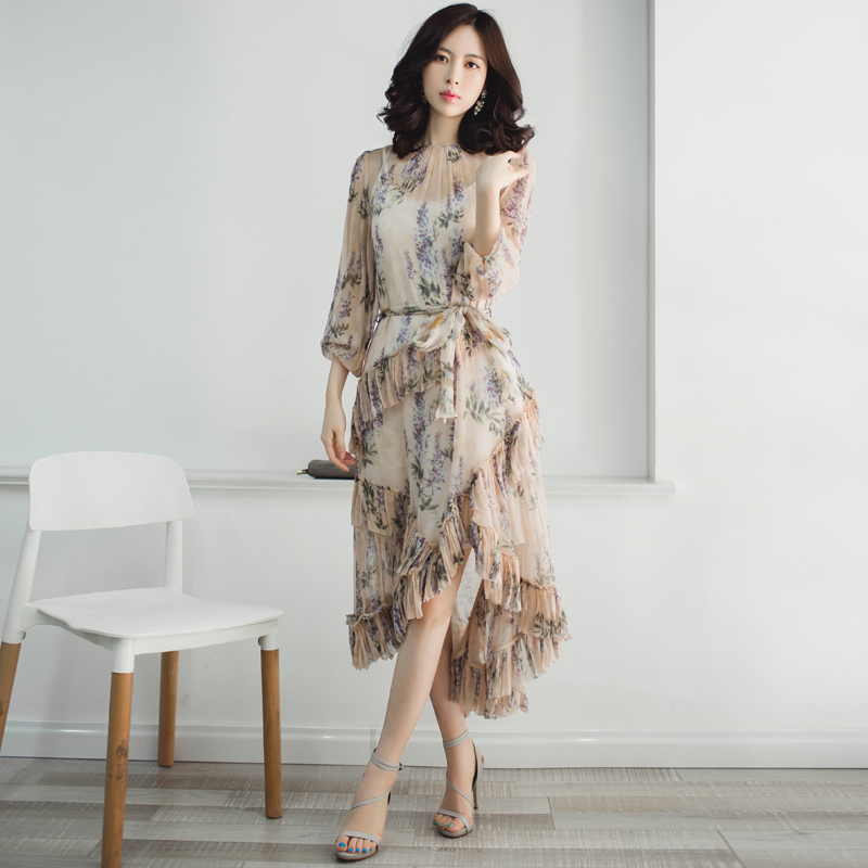2018 Runway Designer Ruffles Patchwork Asymmetrial Sashes Elegant Noble Woman Dress Casual Holiday Vocation Beach Party Dress
