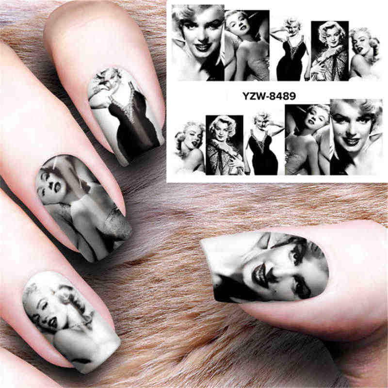 Marilyn Monroe Water Nail Stickers For Nails Set Transfer Water Decals Sliders For Nail Art Decorations Stickers On Nails Design