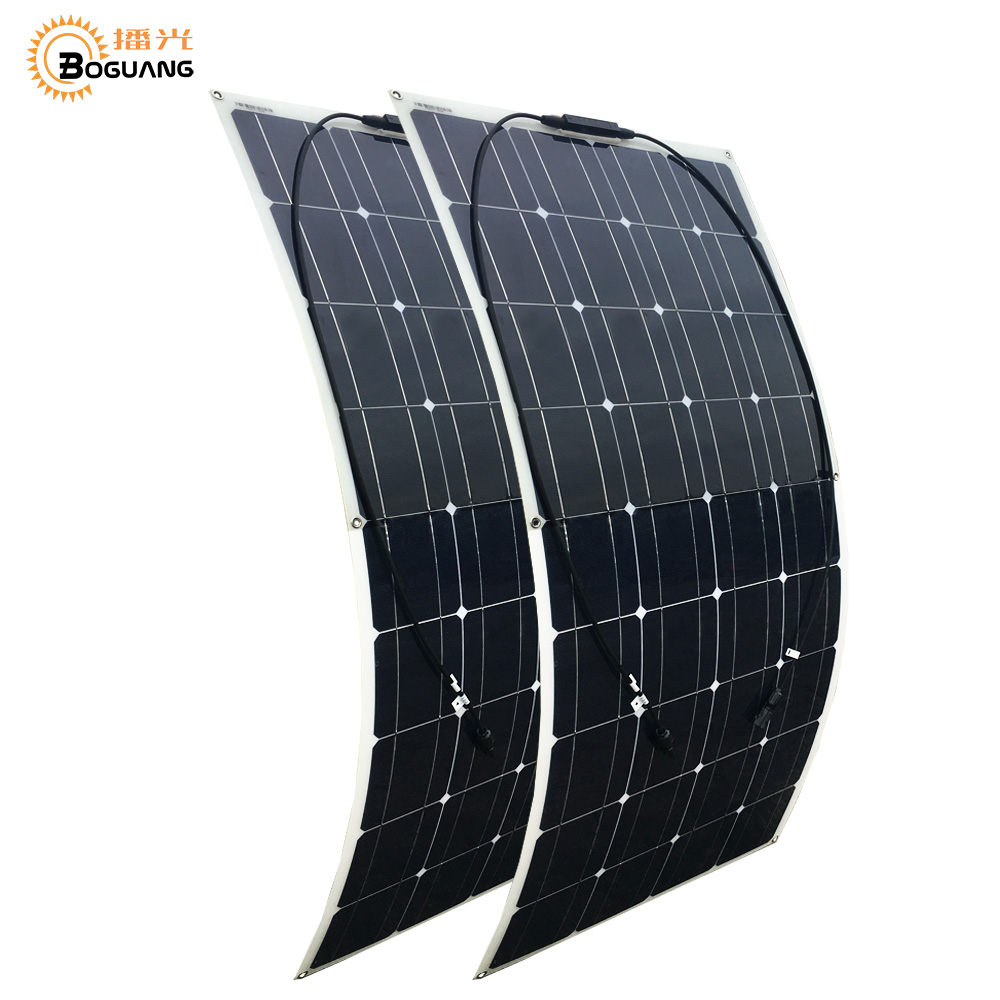 2pcs 100w solar panel Monocrystalline silicon 36 cells efficient module MC4 connector for 12v battery RV yacht car home charge sp 36 120w 12v semi flexible monocrystalline solar panel waterproof high conversion efficiency for rv boat car 1 5m cable