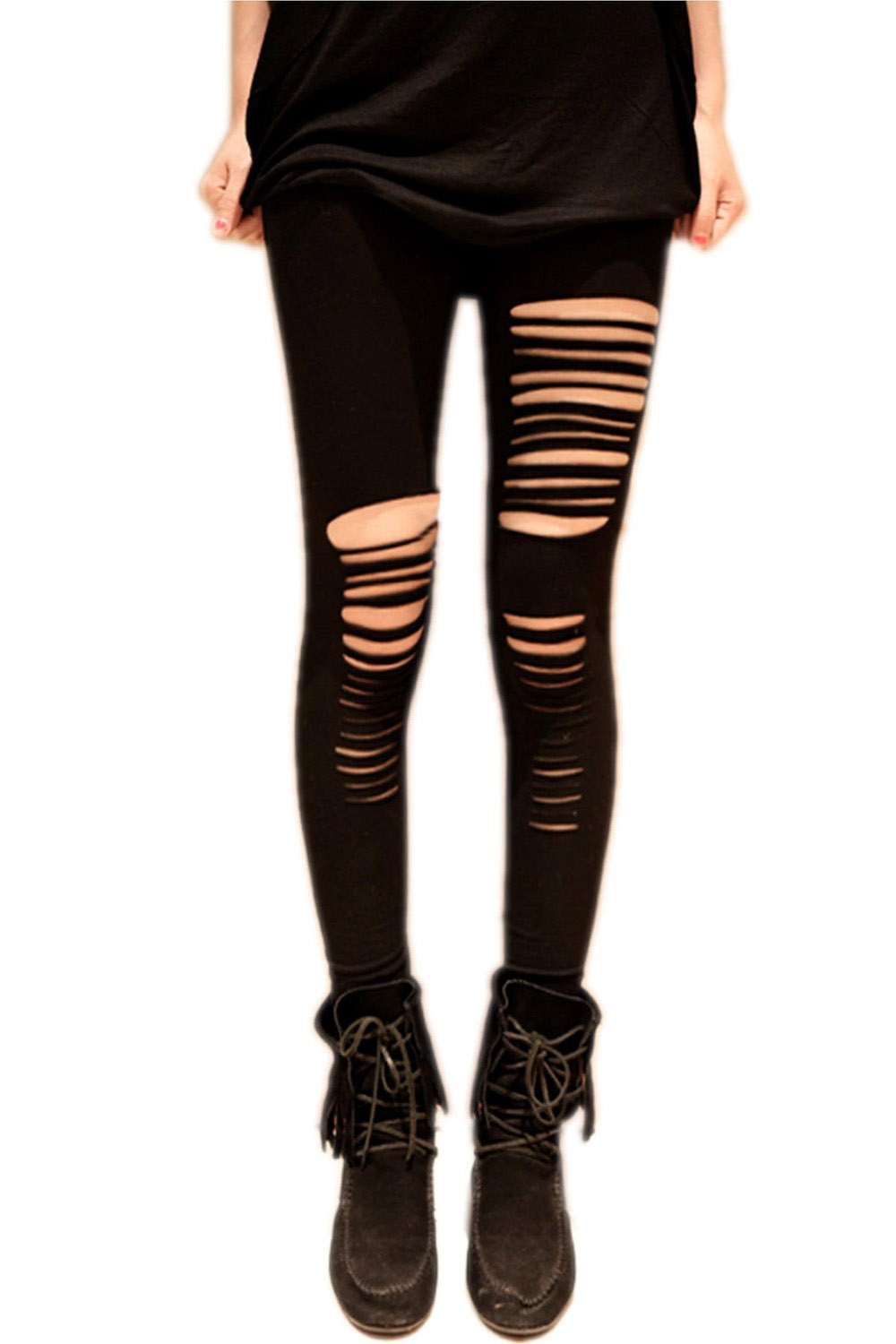 Womens Cut Out Ripped Punk Skinny Pants Hollow Trousers Black Pencil