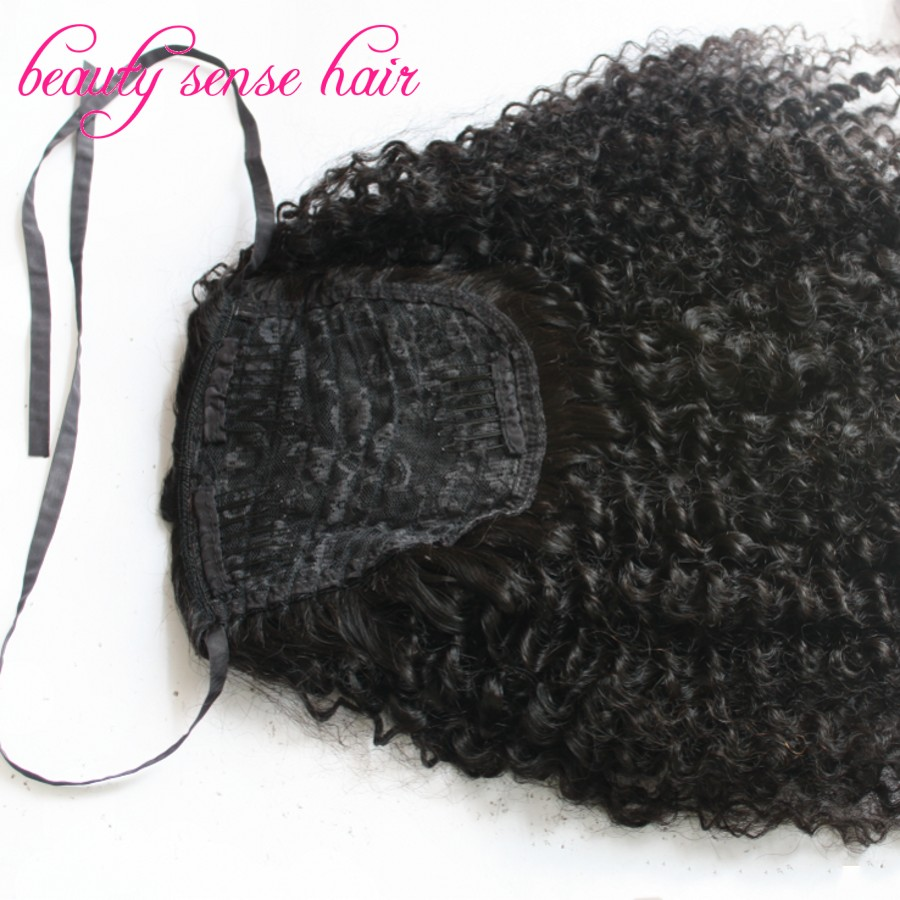 2016 New 8a Grade Human Hair Ponytail Extensions Kinky