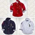 Infantil chicos marca caballo carta de rayas largas camisas 2015 nuevo algodón de primavera de mezclilla con cuello rojo blanco azul Chemise Enfant blusa