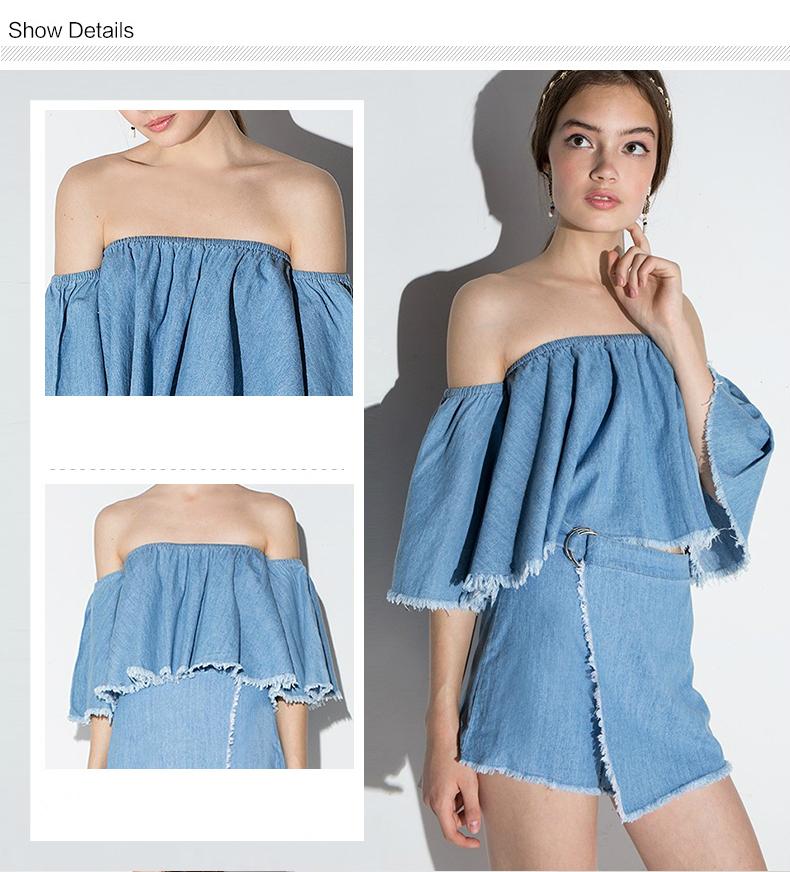 HTB1LdFkRXXXXXcVXVXXq6xXFXXXu - Slash-Neck Off Shoulder Tops Fashion Denim Shirts JKP190