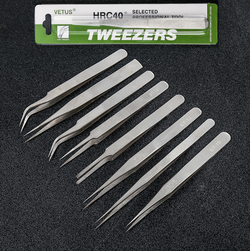 100% Genuine Vetus ST Series Ultra Precision Stainless Tweezers Extension Anti Acid ESD Anti-Static Stainless Tweezer