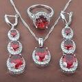 Brilhando Zircão Cúbico Vermelho das Mulheres Stamped 925 Sterling Silver Jewelry Conjuntos de Colar de Pingente Brincos Anéis Frete Grátis TZ065