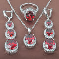 Shining Red Cubic Zircon Women's Stamped   925 Sterling Silver Jewelry Sets Necklace Pendant Earrings Rings Free Shipping TZ065