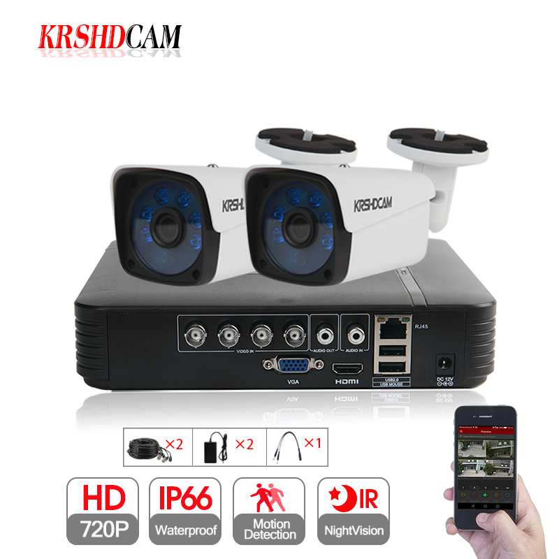KRSHDCAM 4CH AHD DVR Security CCTV System 30M IR 2PCS 720P CCTV Camera Outdoor Waterproof Camera Home Video Surveillance Kit best price 4channel ahd security system 2pcs outdoor ircut filter 720p waterproof ahd camera and 4ch 3in1 hybrid dvr nvr ahd kit