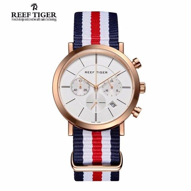 Риф Тигр/RT модные британский стиль розовое золото Тон Часы Водонепроницаемый нейлоновый ремешок Для мужчин смотреть RGA162
