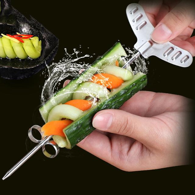 2pcs/Set  Manual Spiral Slicer  Vegetables Spiral Knife Carving Tool Potato Carrot Cucumber Salad Chopper Cutter kitchen tools