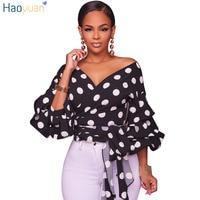 HAOYUAN Lantern Sleeve Polka Dots Blouses Fall 2017 Fashion Deep V Neck Sexy Black White Blusas