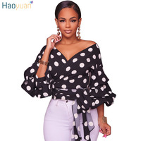 HAOYUAN Lantern Sleeve Polka Dots Blouses Fall 2017 Fashion Deep V Neck Sexy Black White Blusas