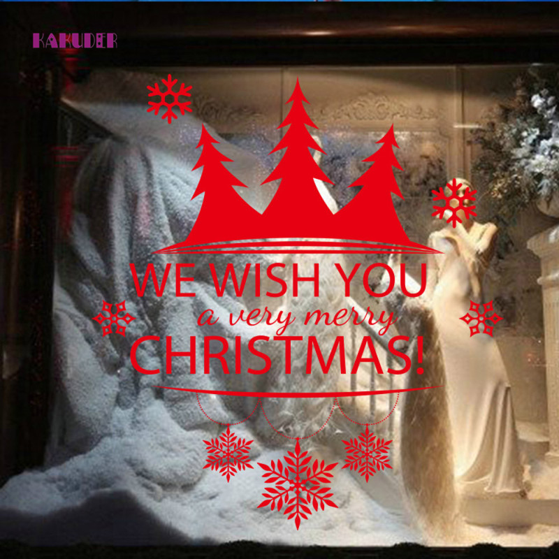 KAKUDER Merry Christmas Background Removable Wall Stickers Christmas Tree New Year Shop Window Wall Sticker 67*58cm