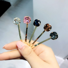 Korea Hair Accessories Colorful Diamond Geometric Clips For Girls Crystal Bows Hairpins Barrette 4