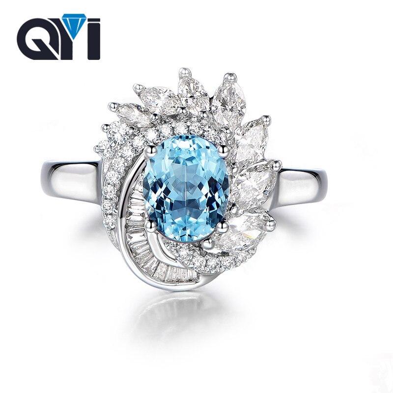 QYI gemmes colorées bague topaze bleu ciel naturel solide 925 argent Sterling pierres précieuses bijoux fins à la mode beau Design pour les femmes
