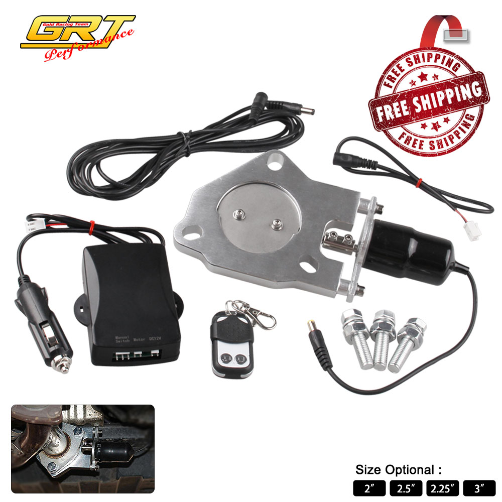 """2""""/2.25""""/2.5""""/3"""" Stainless Electric Exhaust Downpipe Cutout Valve Motor Kit with Wireless Remote control 12ft Wiring Harness Kit-in Mufflers from Automobiles & Motorcycles    1"""