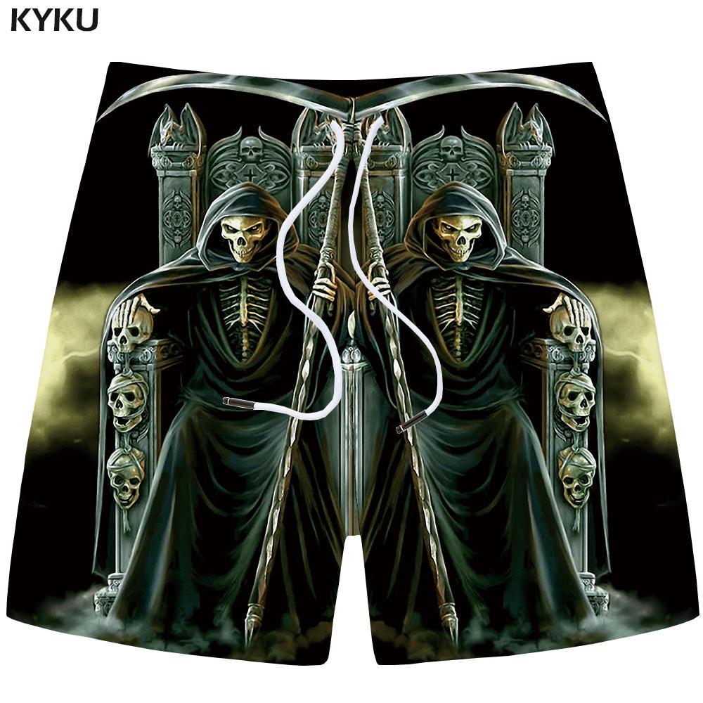 Kyku Brand Skull Shorts Men Space Casual Shorts Beach King Gothic 3d Printed Black Mens Short Pants Cargo 2019 Fashion Summer