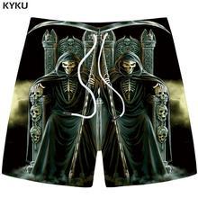 KYKU Brand Skull Shorts Men Space Casual Beach King Gothic 3d Printed Black Mens Short Pants Cargo 2018 Fashion Summer