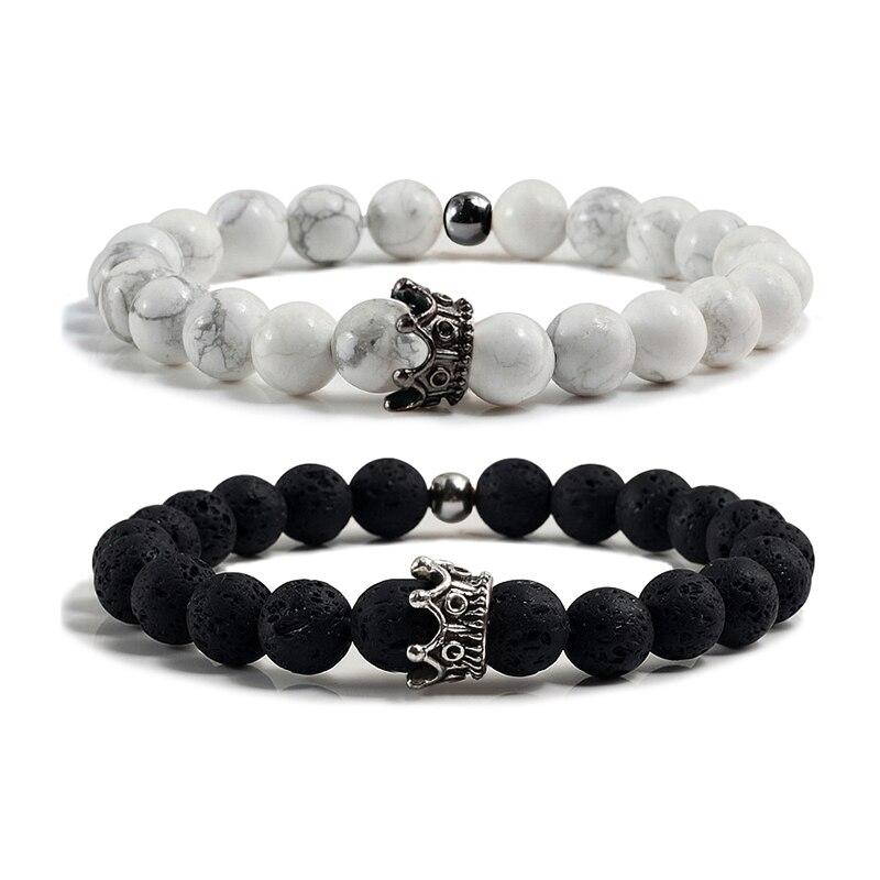 Couple Distance Black Lava Beads Handmade Bracelets Charm Gold&Sliver Crown Men's Natural Stone Bracelet Women Yoga Jewelry Gift