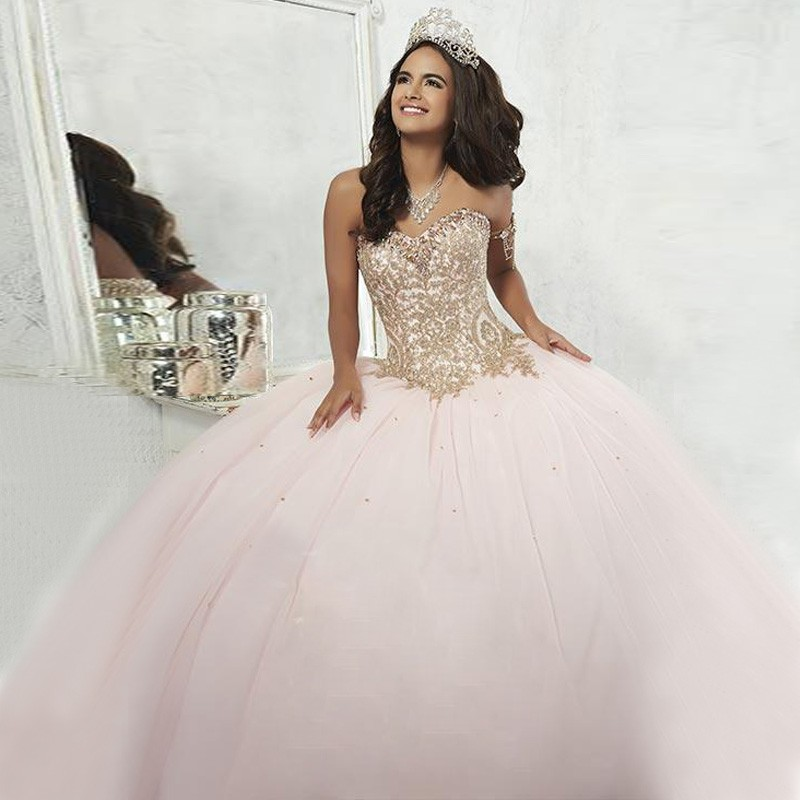 Popular Pink and Gold Quinceanera Dresses-Buy Cheap Pink and Gold ...