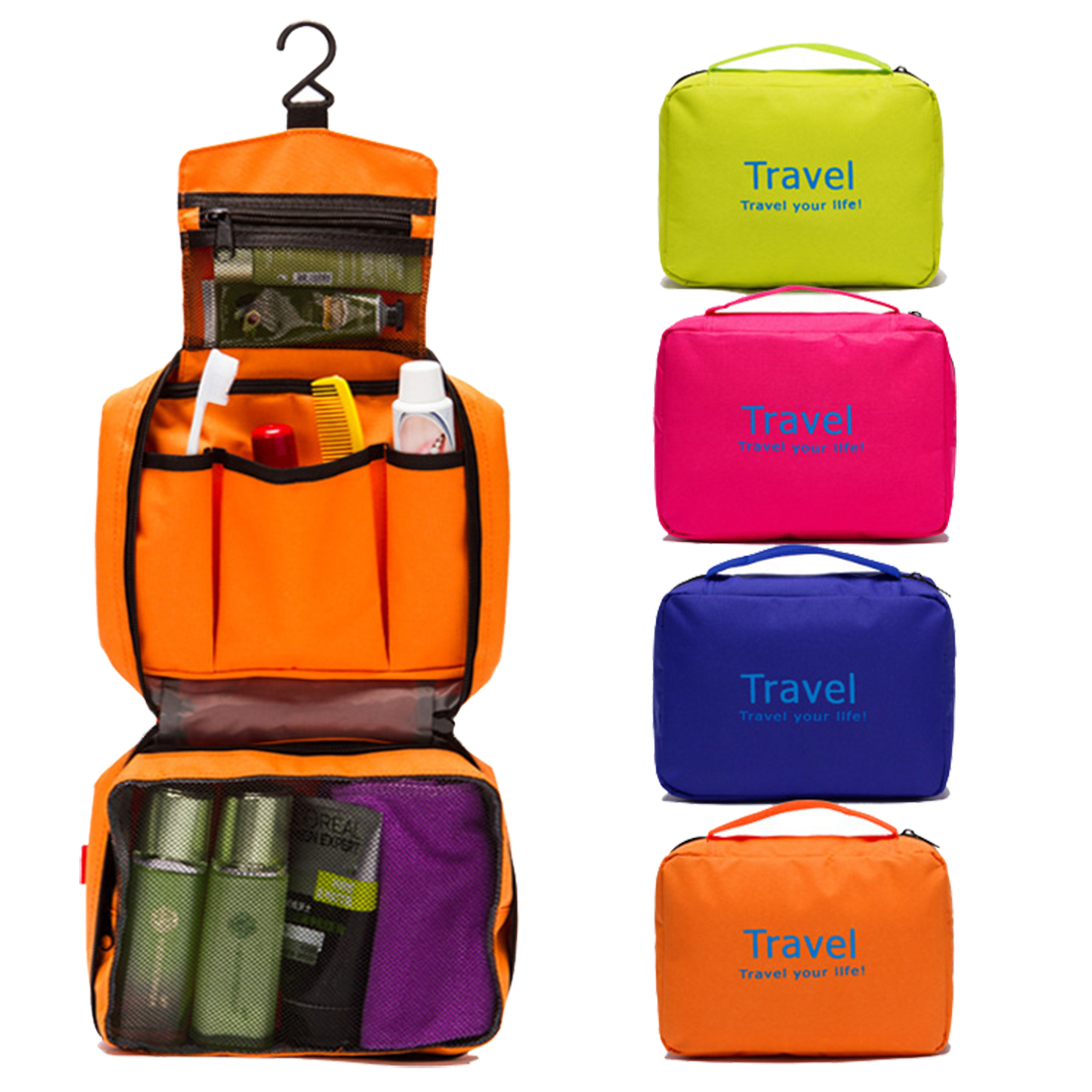 Portable Travel Bag Organizer Foldable Cosmetic Bag Luggage Compression Pouches Red Multifunctional Bag