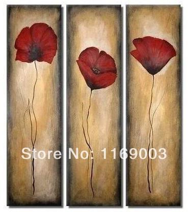 Abstract 3 piece wall art red poppy flower cheap modern art oil ...