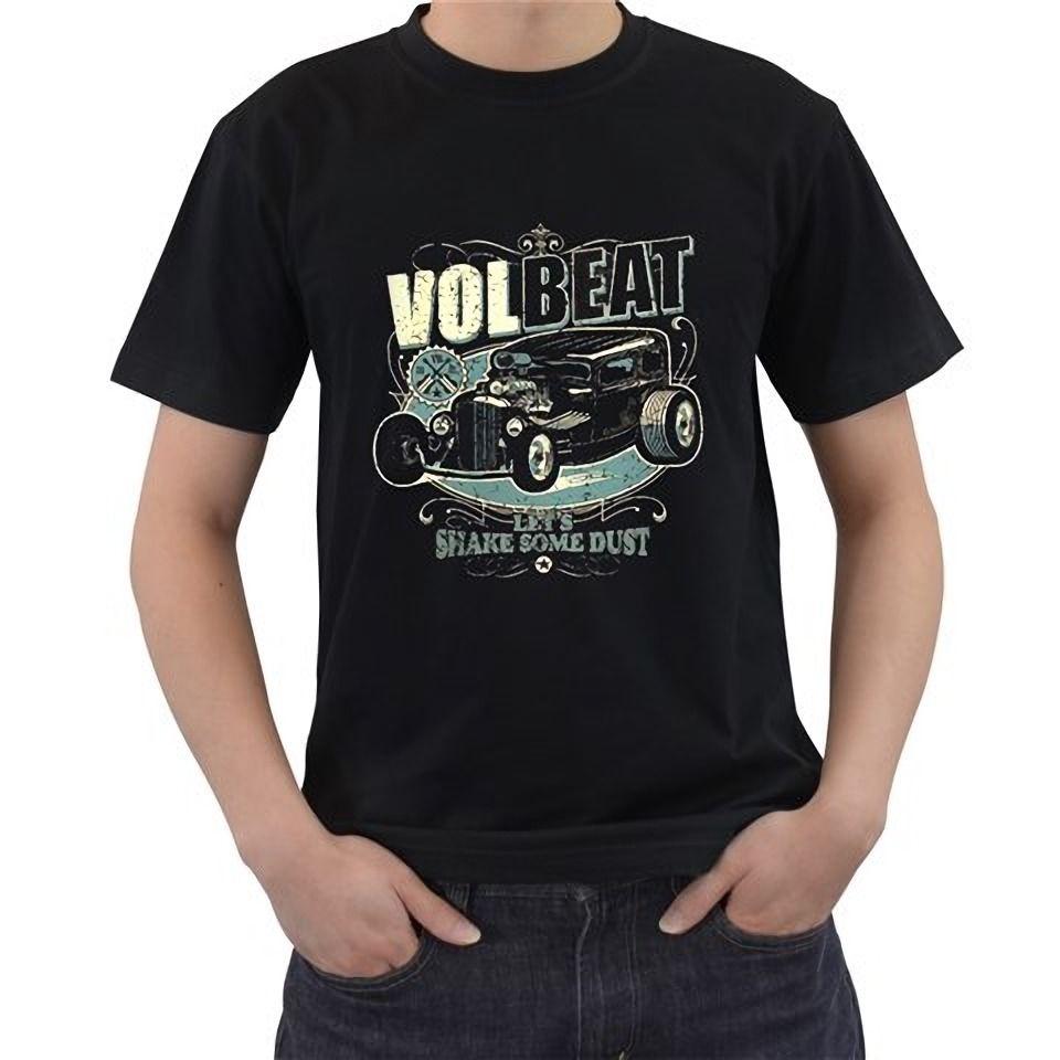 Shirt design gildan - Cheap T Shirt Design Gildan Men S Crew Neck Volbeat Let S Shake Some Dust Metal Rock Black